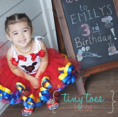 Mickey Mouse Clubhouse Birthday Outfit- Ribbon Trim Tutu- Personalized Shirt and Bow- great for Disney trip- Minnie Mouse Birthday Dress by TinyToesTutuBoutique on Etsy https://www.etsy.com/listing/243835215/mickey-mouse-clubhouse-birthday-outfit