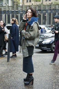 Yasmin Swell in layered toppers and ankle boots. in London
