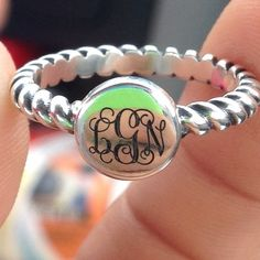 This customer photo shows one of our beautiful monogram options on our Engravable Twisted Wire Ring. #jamesavery