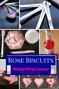 Photo montage of a recipe for rose biscuits inspired by Breast Cancer Awareness month
