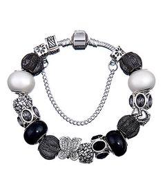 Look what I found on #zulily! Black & Silvertone Crystal Butterfly Charm Bracelet #zulilyfinds