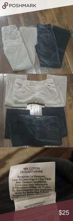 """Bundle Eddie Bauer Velour Pants Blue'ish grey pair beautiful color, never worn, perfect condition, 6T 34"""" inseam.  Tan pair also in great shape. Worn a few times, note slight discoloration at heels, 6 33"""" inseam. Both have some stretch, flattering fit! Eddie Bauer Pants Boot Cut & Flare"""
