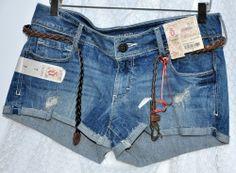 Decree Shorts Size 7 Juniors Medium M Distressed Denim w Belt New #Decree #MiniShortShorts