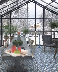 Interior from the wintery orangery. Overwintering olive trees and nice furnishing.