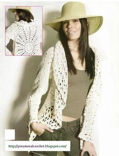 crochelinhasagulhas: Casaco branco em crochê Punt & Moda