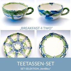 b42_teetassen_vertbleu_sel Natural Selection, Tea Cups, Simple Lines, Tablewares