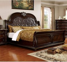 online shopping for Furniture America Strout Traditional California King Bed Brown Cherry from top store. See new offer for Furniture America Strout Traditional California King Bed Brown Cherry Upholstered Platform Bed, Upholstered Beds, King Beds, Queen Beds, Leather Sleigh Bed, Cherry Furniture, Cal King Bedding, California King Bedding, Sleigh Beds