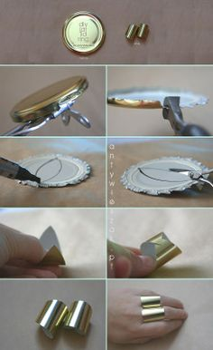 diy ring made of a jar lid.  This is so easy, but it looks very expensive!