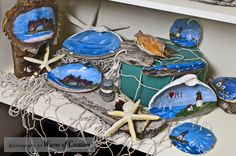 More shells and driftwood with scenes of Narragansett RI by Lisa Ferrucci Seashell Candles, Seashell Art, Seashells, Beach Crafts, Shell Crafts, Beach Cottages, Beach Art, Front Doors, Driftwood