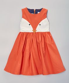 Look at this Just Couture Orange & Cream Fox A-Line Dress - Toddler & Girls on #zulily today!