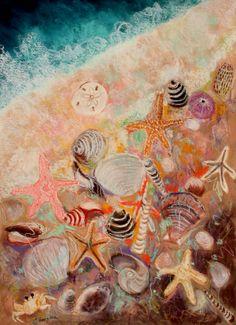 Seashells | Seashells and Starfish One, abstract painting by Carol Engles