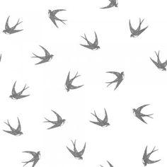 Designer Selection Swallows Wallpaper Charocal / White