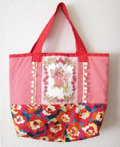 red and pink large size handbag with a fairy print by sofiapaseka, $50.00