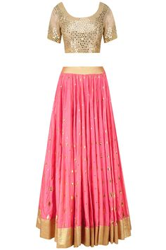 Beige and pink mirror and foil work anarkali set available only at Pernia's Pop Up Shop.