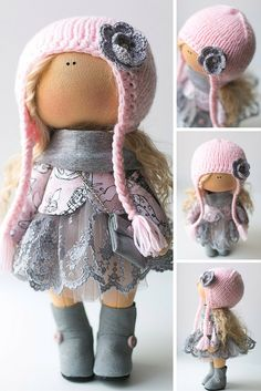 Baby doll tilda doll handmade blonde pink colors Soft doll Cloth doll Fabric…