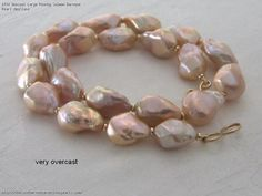 Unusual Large Peachy Salmon Baroque Pearl Necklace