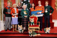 The British Royal Family were made of wax and were posed up by the famous Madame Tussauds! They even had Queen Elizabeth II in a sweater with one of her beloved Corgis on the front! – Photo courtesy of Madame Tussauds and Save The Children Ugliest Christmas Sweater Ever, Christmas Jumper Day, Funny Christmas Sweaters, Christmas Jumpers, Christmas Humor, Merry Christmas, Tacky Christmas, Xmas Sweaters, Elizabeth Ii
