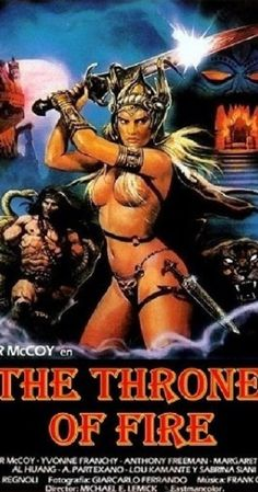 "bulletride-actionwear: fantasy movies - uncensored VHS artwork for ""The Throne of Fire"" "" Horror Movie Posters, Cinema Posters, Movie Poster Art, Poster S, Film Posters, Horror Movies, Fantasy Movies, Sci Fi Movies, Old Movies"