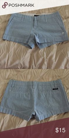 Blue and white striped Hurley shorts Really comfy and cute shorts. No rips/stains. Easy to pair basic tops with. Size said 9 but can fit 7-9. Hurley Shorts Bermudas