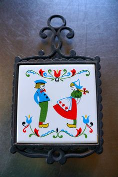 Vintage Dutch Girl and Boy Tile Trivet