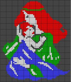 woman holding baby pattern / chart for cross stitch, knitting, knotting, beading, weaving, pixel art, and other crafting projects.
