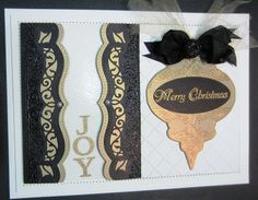 Black And Gold Opulence Christmas Card by PartiCraft