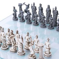 Greek and Roman Mythology Chess Set. Get ready to battle for the glory of ancient gods. In this game their is only one winner, and that is the one who survives!