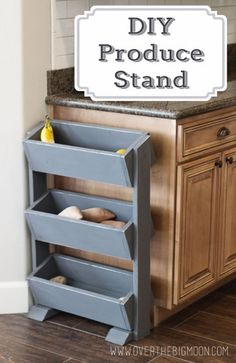 Wood Profits - DIY Produce Stand - Discover How You Can Start A Woodworking Business From Home Easily in 7 Days With NO Capital Needed! Kitchen Organization, Kitchen Storage, Organization Ideas, Storage Ideas, Smart Kitchen, Storage Bins, Produce Stand, Produce Storage, Cocina Diy