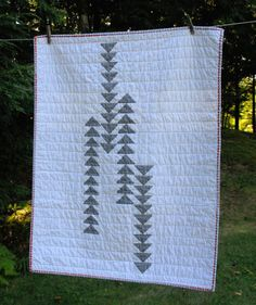 White and Gray Flying Geese Baby Quilt Ready to by TheEarlyGirl  #munire #pinparty #MadeinUSA