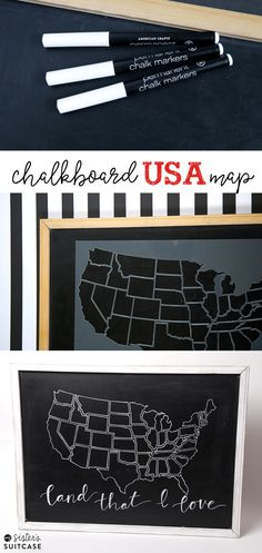 A thrifted chalkboard gets an easy makeover with a stencil and chalk markers! sisterssuitcaseblog.com