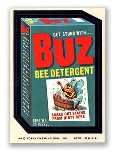 Topps Wacky Packages  12th Series 1975 BUZ DETERGENT