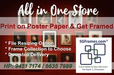 Now you can Print your favourite Poster or Photos on Poster Paper and get framed with our variety of Frame collection. Yes. You can email your files and we will help you to print it. Affordable price assured. If you feel that your file need to resized our staff will do that with minimal charges. So why wait? Go Digital!   #SGFrames #SGFramesChinaTown #SGFramesToaPayoh #Framing #GeneralFraming #PosterFraming #PaintingFraming #PictureFraming  #Print&Frame #PrintSingapore #PrintNFrame Free Quotes, Chinese Art, Singapore, All In One, Minimal, How Are You Feeling, Feelings, Abstract, Paper