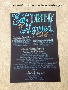 Pin now to find later. Hand lettered menu board adds SO much character & charm to the wedding! Custom HandPainted 20x30 WEDDING MENU BOARD by WhatchawantDesign