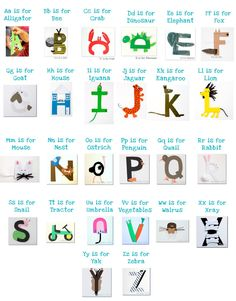 ABC letter crafts... tackle one letter a day (and maybe spend that day talking all about that specific letter- like Monday we'll tackle A, and we'll reference a whole bunch of things that start with the letter A... like Apples, Airplanes, Arms, etc.)