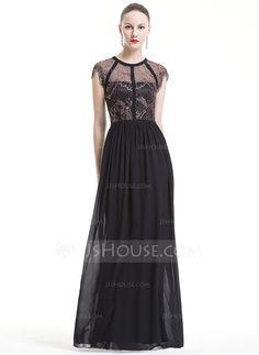 [US$ 136.99] A-Line/Princess Scoop Neck Floor-Length Chiffon Lace Evening Dress (017080851)