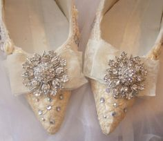 Wedding shoes with vintage lace and Swarovski crystal shoes