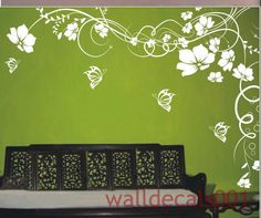 wall decal kids decal wall Stickers floral decal butterfly decal baby nursery girl graphic mural wall decor wall art -flower with butterfly. $50.00, via Etsy.