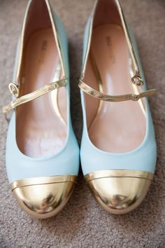 Gold-Tipped Blue Bridal Shoes | Jenny Storment Photography on /loveincmag/ via /aislesociety/