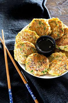 Tuna Pancakes (Chamchijeon) - My Korean Kitchen Korean Bbq Side Dishes, Side Dishes Easy, Side Dish Recipes, Fish Recipes, Seafood Recipes, Cooking Recipes, Easy Korean Recipes, Indian Food Recipes, Asian Recipes