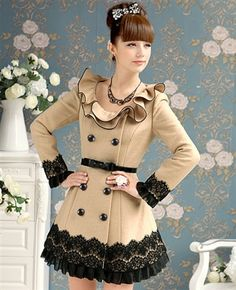 New Spring Elegant Camel Lutos Trimming Thin Woollen Coat $149