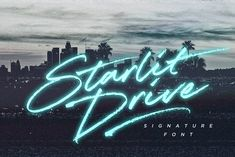 Get your aviators on and hit the road with Starlit Drive - a fast paced, stylish signature font with a retro edge. With swift strokes and authentic dry textures, it's an irresistibly charismatic & confident font choice for a range of design projects.