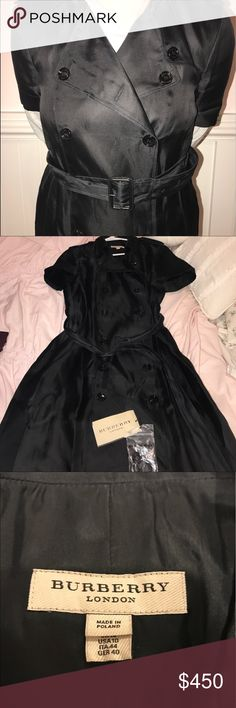 BURBERRY LONDON BLACK TRENCH COAT Authentic Burberry London short-sleeved black trench coat. Button down front, the additional Burberry buttons are included with purchase! Worn a couple times but no rips in the fabric! Beautiful authentic Burberry trench coat SIZE WOMENS US 10, fits very well!!                                                           PURCHASE INCLUDES: Trench coat, the black belt, and the additional buttons :) :) Burberry Jackets & Coats Trench Coats