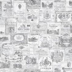 Galerie Memories 2 G56175 Black White French Wine Labels Writing Wallpaper