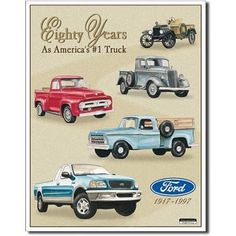 Ford Pickup Trucks 80 Year 1917-1997 Tribute Retro Vintage Tin Sign Tin Sign , 13x16 by Poster Revolution. $9.06. Tin Sign Title: Ford Pickup Trucks 80 Year 1917-1997 Tribute Retro Vintage Tin Sign Tin Sign. Size: 13 x 16 inches. The tin sign is just one the hundreds of high-quality wall décor products offered to help you decorate in your own unique style. Items like Ford Pickup Trucks 80 Year 1917-1997 Tribute Retro Vintage Tin Sign Tin Sign enhance any interior and ma...