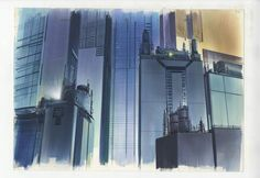 The highly detailed drawings used to create the backdrops of animated Japanese movies like Ghost in the Shell are the focus of a new exhibition in London Architecture Background, Art And Architecture, Cyberpunk Anime, House Illustration, Illustrations, Fictional World, Anime Films, Animation Background, Ghost In The Shell