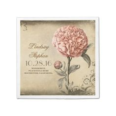 vintage wedding napkins with pink peony blossom disposable napkins http://www.zazzle.com/vintage_wedding_napkins_with_pink_peony_blossom_taylorcorpnapkin-256346150086256041?rf=238588924226571373