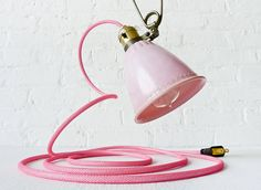 Pretty in Pink Vintage Bell Clip Light Hanging by EarthSeaWarrior