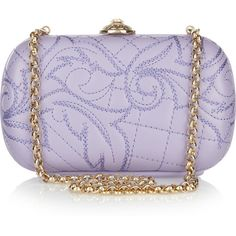 Versace Embroidered leather box clutch ($1,033) ❤ liked on Polyvore