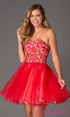 Strapless Lace Up Party Dress at PromGirl.com