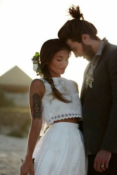 40 totally chic wedding dress separate ideas for unique brides - Wedding Party boho wedding couple Mod Wedding, Wedding Bells, Wedding Bride, Wedding Gowns, Wedding Shoot, Party Wedding, Lace Wedding, Bridal Gown, Bride Groom